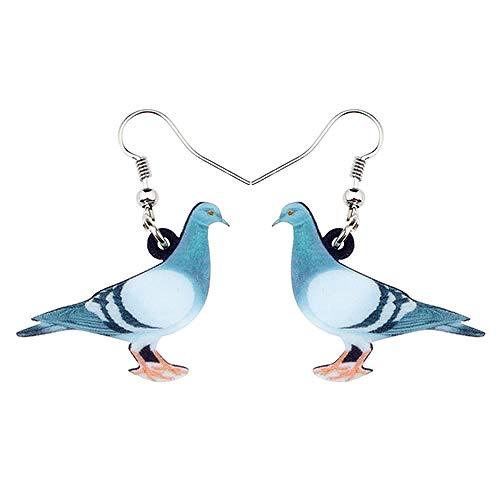 XAOQW Pendientes de pájaro colibrí Violeta Volador acrílico Grandes Colgantes Largos joyería Animal de Moda para Mujeres niñas Chico-Pigeon Bird_China