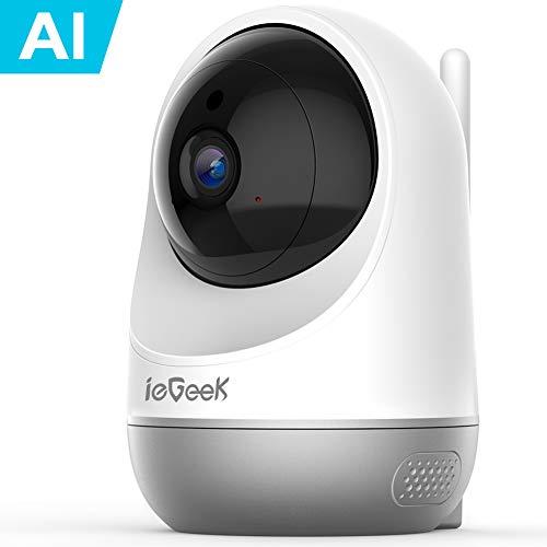 ieGeek 1080P Telecamera Wi-Fi Interno, Baby Monitor, AI Videocamera Sorveglianza Interno WiFi con Visione Notturna, Audio Bidirezionale, Notifica di Rilevamento del Movimento, Supporto Alexa (Bianco)
