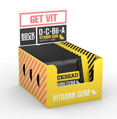 Blockhead Vitamin Gum Lemon | Vitamin Chewing Gum with Vitamins A, B6, C & D | Sugar-Free | Calorie-Free (120 Pieces)
