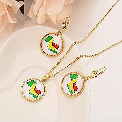Collar Dubai India y África Conjunto de Mapa de Cristal Chapado en Oro Niñas Personalizadas Anillo de Compromiso Nupcial Pendientes Collar Collar de Regalo Longitud 50Cm