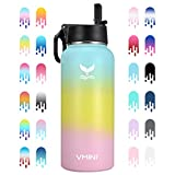 Vmini Water Bottle with New Wide Handle Straw Lid, Wide Mouth Vacuum Insulated 18/8 Stainless Steel, 32 oz, Gradient Blue + Yellow + Pink