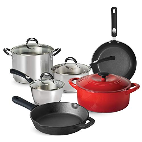 Tramontina 80198/001DS Kitchen Essentials Multi-Material Cookware Set, 10-Piece