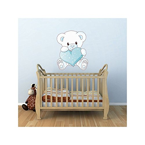 JUJU & COMPAGNIE - Sticker Ourson Coeur Dimensions - 32 x 40 cm, Orientation - 01-Normal