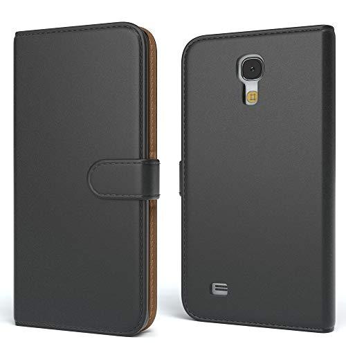 EAZY CASE Tasche für Samsung Galaxy S4 Mini Schutzhülle mit Standfunktion Klapphülle im Bookstyle, Handytasche Handyhülle Flip Cover mit Magnetverschluss und Kartenfach, Kunstleder, Schwarz