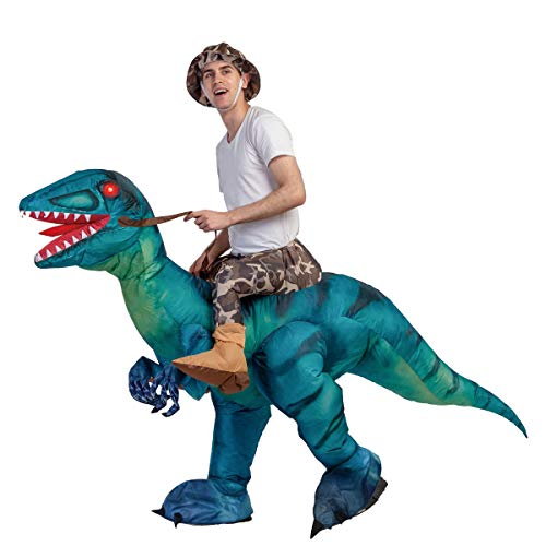 GOOSH Inflatable Dinosaur Costume Riding a T-REX Air Blow-up Deluxe Halloween Costume Red (55 INCH Body height) (11-14 Yrs 63″Height)