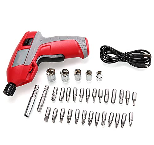 Electric Screwdriver, Cordless Screwdriver 4.2V 6N.m Battery Variable Torque Adjustments with 33 Free Accessories Extra Bits Set for Home DIY with 33 Popular Bit Sizes for The Home & Office
