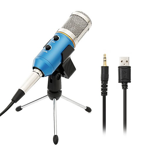 Micrófono Condensador USB Profesional para Grabar y Cantar, Portátil PC Micrófono Vocal con Soporte de Trípode de Sobremesa para Ordenador Computadora Laptop, Azul
