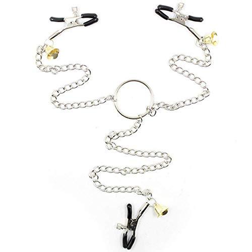 Schwarzer Gummideckel mit goldener Glocke, Milch-Clip, Chian, Schellen, Nickel Placer B`D`S-M Boğdàgé Zubehör für Paare