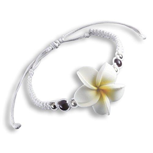 ISLAND PIERCINGS Frangipani Blüten Armband Shamballa längenverstellbar B157