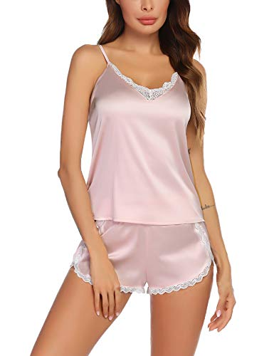 Balancora Set pigiama da donna Set pigiama estivo corto in pizzo a maniche corte Pantaloni da pigiama Abbigliamento da notte Pigiama da notte a maniche corte Pigiama da donna S-XXL