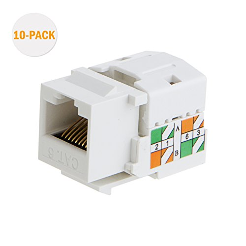 CableCreation 20-Pack Cat6 / RJ45 Keystone Module Connector, White