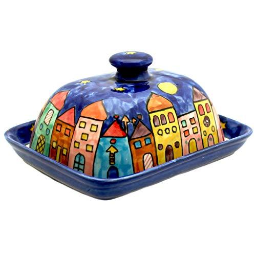Gall&Zick Butterdose mit Deckel Keramik Bunt Handbemalt (New Village)