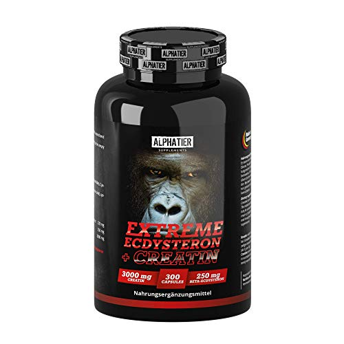 Ecdysterone Creatine Kapseln hochdosiert + vegan - 250mg ß-Ecdysterone (95% Cyanotis Arachnoideae Extrakt (besser als Spinat)) + 3000mg Kreatin pro Tagesdosis - 300 Caps