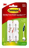 Command Small Wire Hooks, White, Holds up to 0.5 lbs, Indoor Use, 4-Hooks, 5-Strips, Organize Damage-Free