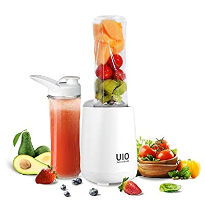 Personal Blender UIO, 250W Smoothies Blender for Shakes and Smoothies, Mini Blender, 2×20oz Travel Cups, Small Portable Blender for Ice Blending, Fruit Juice, Protein Meal Pre by