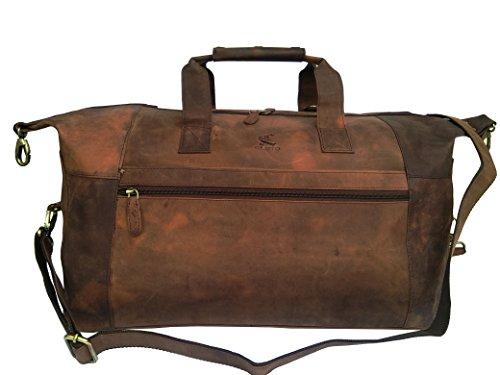VINTAGE COUTURE Buffalo Leather Duffel Bag Travel Weekend Tote Shoulder Bag