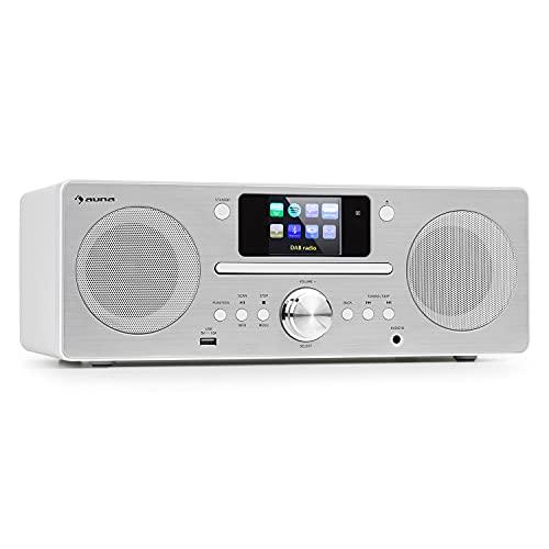 auna Harvard IR Kompaktanlage - Internet-/DAB+ und UKW-Radio, CD-Player, Spotify Connect, Bluetooth, 2,4' HCC Display, UNDOK-App, USB-Port, weiß