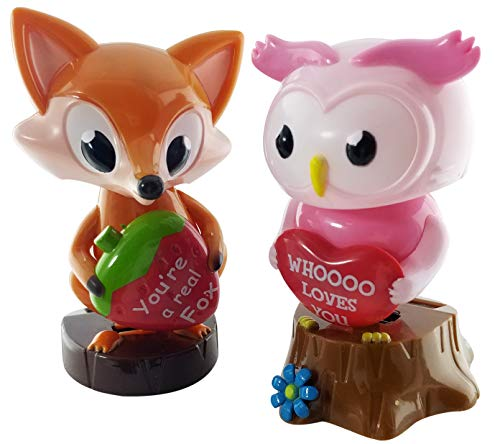 Midwood Brothers Valentine Solar Powered Dancing Owl and Fox Bobble Head Figures