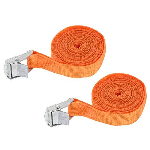 Wakauto 6Pcs Fuß Auto Schwere Beanspruchung Bindegürtel Motorrad Zurrgurte Gepäcktasche Frachtzurrung Polyester Gurtbänder Orange