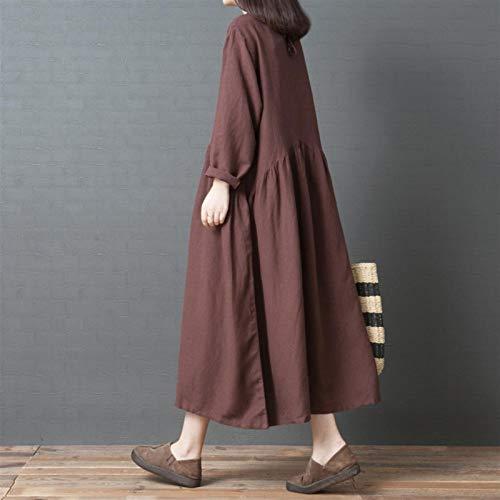 XIAMAZ Lässiges, lockeres Damenkleid aus Baumwolle und Leinen, einfarbig,...