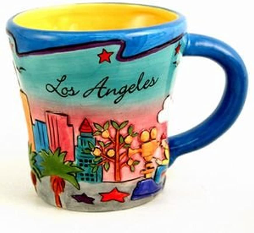 31 6 18 CM Los Angeles Hand Painted Yellow Puff Trumpet Mug Blue Pink With Copyrighted CA Bear Magnet