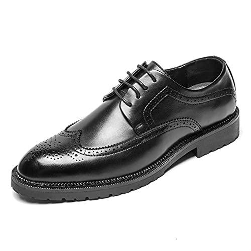 LINGYANMM Zapatos de vestir para hombres de piel sintética con suela de goma y puntera antideslizante, resistentes al agua, para trabajo (color negro, tamaño: 43EU)