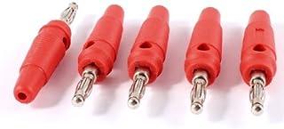 DealMux 5 stuks 3mm audio luidspreker draad kabel adapter schroef banaan connector rood