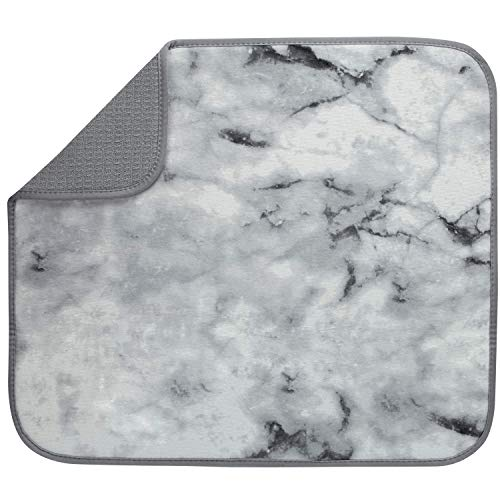 S&T INC. Marble Print Dish Drying Mat, 16 Inch by 18 Inch