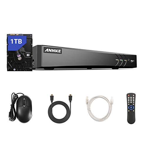 ANNKE 8-Channel 4K Security Video DVR Recorder 5-in-1 H.265+ Hybrid DVR with 1TB Hard Drive, Supports 8Pcs 4K TVI/5MP AHD/4MP CVI and CVBS Cameras and 4CH 6MP IP Cameras for Home Surveillance System