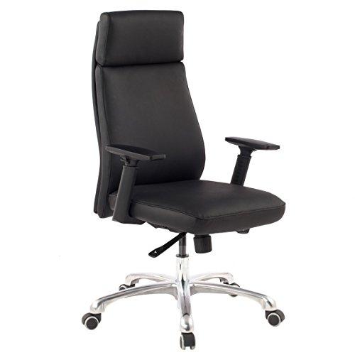 Sedia da ufficio Porto Real in pelle nera ergonomica con poggiatesta | Progettare sedia esecutiva sedia da scrivania ergonomica con funzione di inclinazione | sedia girevole con braccioli X-XL 120 kg