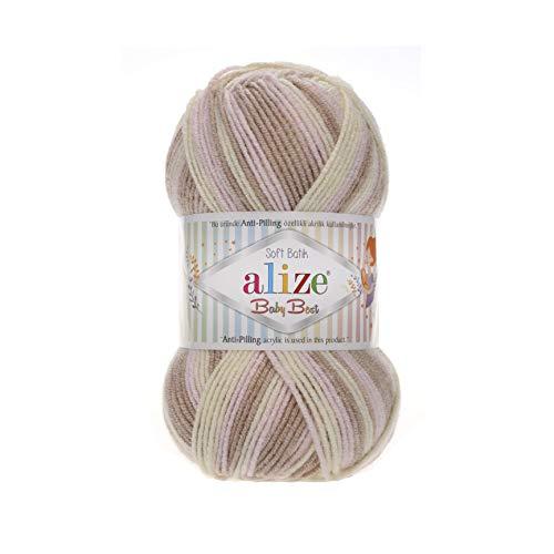 Alize 5 x 100g Babywolle Baby Best Batik mit 10% Bambus, 500 Gramm Wolle mit Farbverlauf Mehrfarbig (6656)