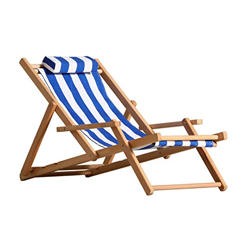 Beach Chair,Outdoor Portable Recliner,Sunbathing Folding Lounge Chair Wood Made for Pool Garden Patio H