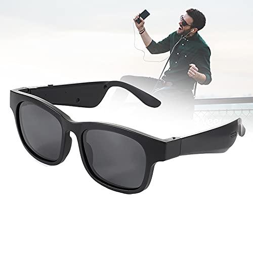 FRIBLSKEL Gafas Sol Polarizadas con Llamada Bluetooth Gafas Audio para Hombres Mujer Lente UV400 Gafas Sol con Auriculares Abiertos para Conducir, Viajar, Al Aire Libre,Negro