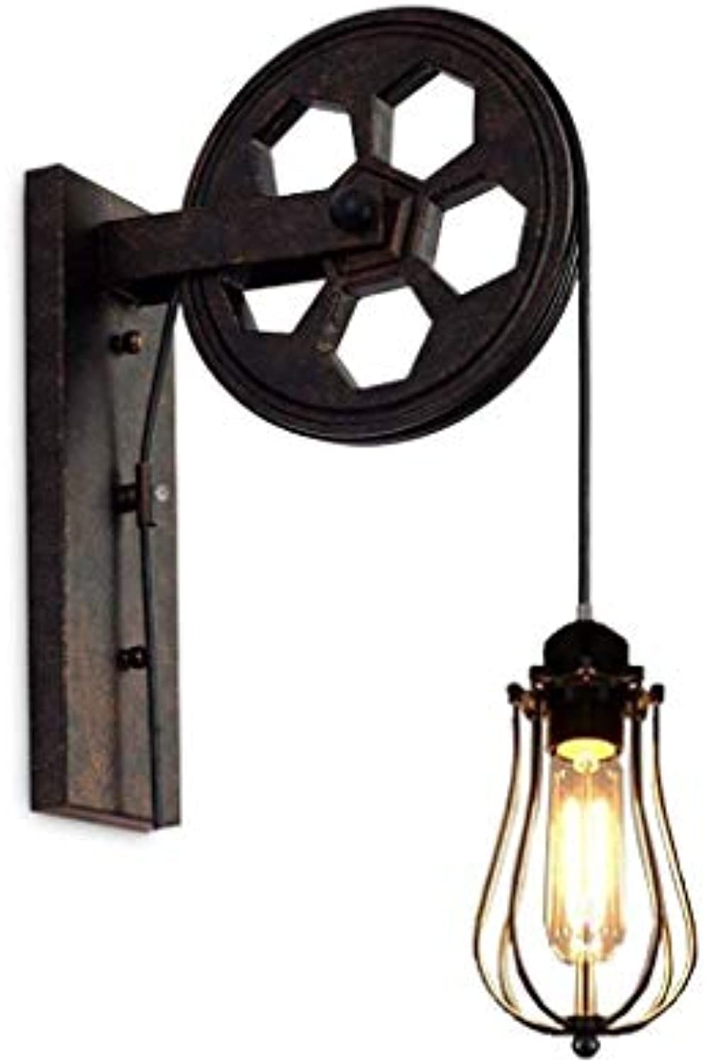 RANR Vintage Loft Industrial Wall Mount Light-Pulley Wall Wall Lamp with Iron Cage-E27 Bulb-Restaurant, Hallway, Pubs Club