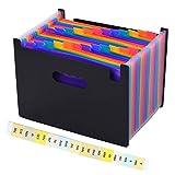 Cartella Portadocumenti, GXR Porta Documenti Espandibile per Ufficio 25 tasche A4 con Coperchio Impermeabile Multicolore Fisarmonica per Casa Scuola e Lavoro