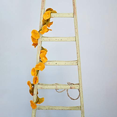 Paper High Handcrafted Felt Flower Garland | Mustard | 160cm Long with 20 Flowers | Hand Felted Hanging Decoration | Garden Garlands and Bunting Alternative | Mantelpiece Display
