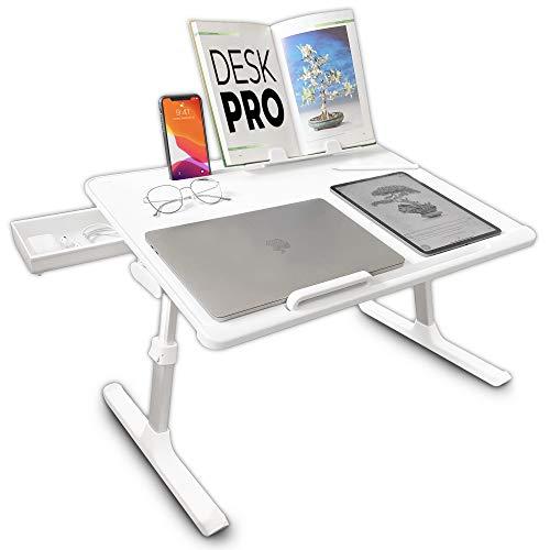Cooper Desk PRO [XL Escritorio plegable ajustable Altura y ángulo para portátil] Mesa desayuno cama, escritura, estudio, comer (Perla blanca)