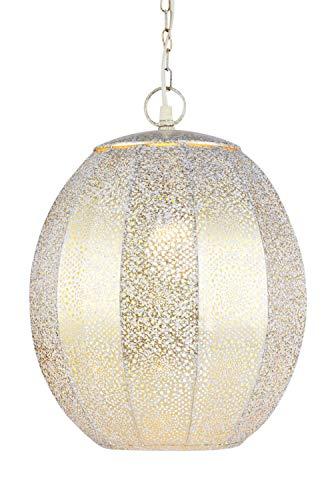 Orientalische Lampe Pendelleuchte Weiss Konoos 35cm E27 Lampenfassung | Marokkanische Design Hängeleuchte Leuchte aus Marokko | Orient Lampen für Wohnzimmer Küche oder Hängend über den Esstisch