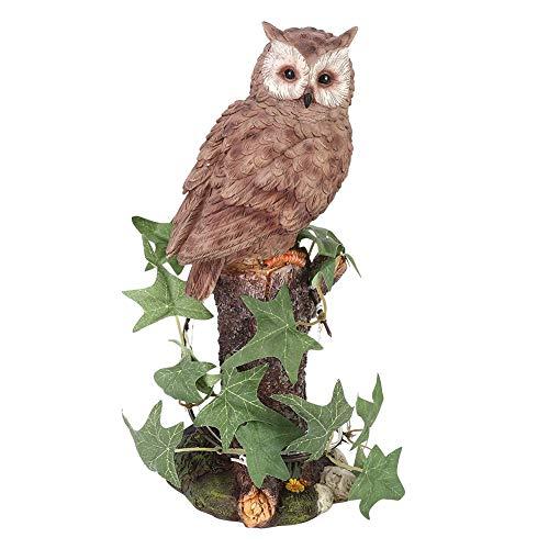 Operalie Decoración de jardín, decoración de jardín con energía Solar, luz Decorativa, Resina, búho, Adorno de Animales, decoración para césped