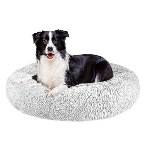 Nasjac Cama calmante para Mascotas, Nido de Mimbre para Donuts Cojín de Felpa Suave y cálido para Perros con Esponja acogedora Parte Inferior Antideslizante para Mascotas (XL(80Cm), Gris Claro)
