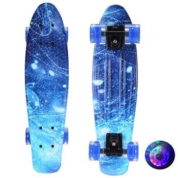 DYKJK 22 Pulgadas Mini Cruiser Skateboard Flash Fish Board Scooter para niños Tablero de Longboard Patineta Impresa Completa para niños, niños, niñas y Adolescentes (Color : Blue)