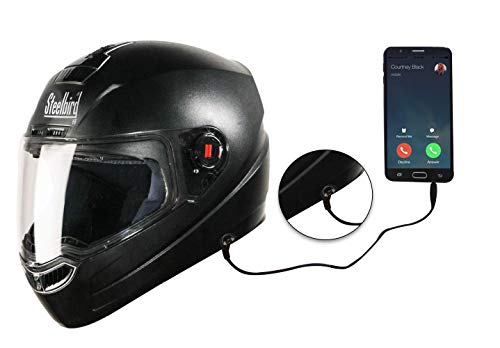 Steelbird SBA-1 HF Dashing Full Face Helmet with Plain Visor and Handsfree Device (BLACK, 600MM)