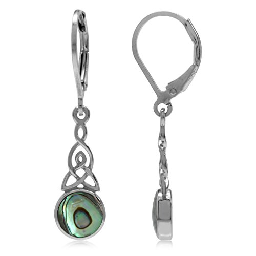 Silvershake Abalone Paua Shell White Gold Plated 925 Sterling Silver Triquetra Celtic Knot Leverback Earrings