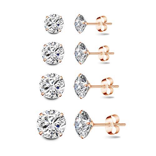 Kämise Pendientes de plata para mujer, 4 pares de pendientes de plata de ley 925 con circonitas cúbicas, oro rosa, pequeños para cartílago, vienen con pendientes de plata, tamaño: 3, 4, 5, 6 mm