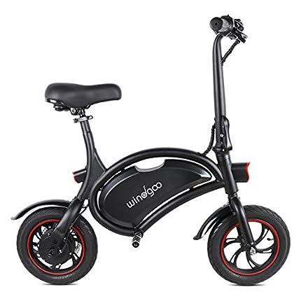 """Windway Bicicleta eléctrica, Bicicleta eléctrica Plegable con Motor de 350W, Bicicleta eléctrica de 12""""para Adultos, 25 km/h, Batería de Litio de 36V y 6,0 AH"""