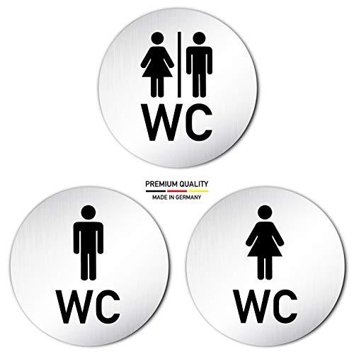 Kinekt3d Leitsysteme XXL Toilettenschilder • Set aus 3 Schildern: 1x Damen WC 1x Herren WC 1x WC/Piktogramm • Ø 100mm • Aluminium (eloxiert) • Türschild Hinweisschild