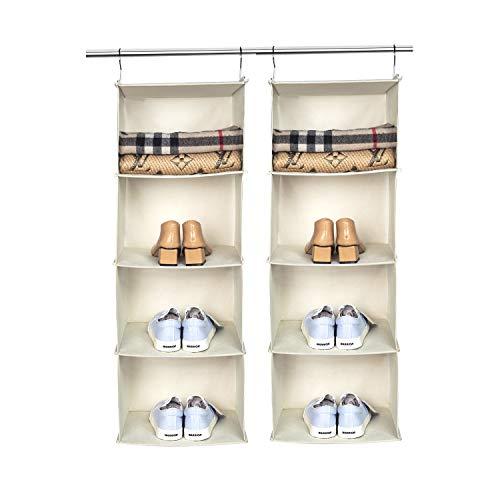 BrilliantJo 2er Set Hängeregal Kleiderschrank Organizer, 4 Fächer hochwertige Hängeaufbewahrung mit Eisengestell Hängeregal Organizer Aufbewahrungssystem Set – Beige