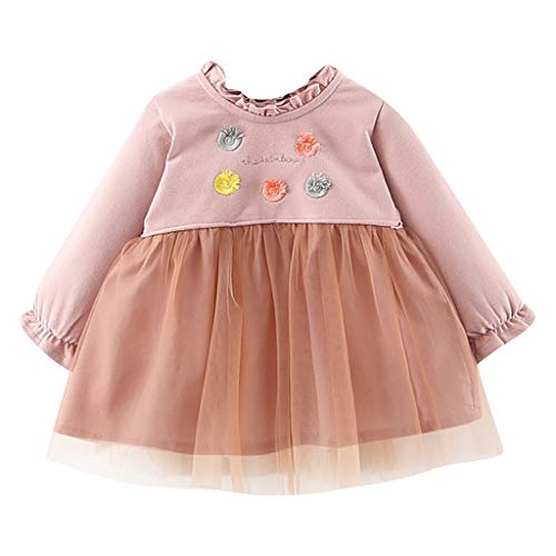 Fenverk Kinder Mädchen Kleider Tüll Kleid Langarm Kleidung Frühling Herbst,Mädchen Polka Getupft Plissee Mehrlagige Rüschen Party Kleider Gr. 90-130(B Rosa,1-2 Jahre)