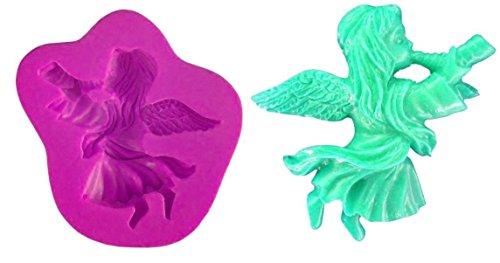 Siliconen mal voor voedsel gebruik van engel die een hoorn speelt - suikerpasta - fondants - cakes - pannenkoeken - muffins - decoraties