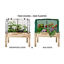 "CedarCraft Elevated Cedar Planter (23"" x 49"" x 30"" H) + Greenhouse & Bug Covers - Complete Raised Garden kit to Grow Tomatoes, Veggies & Herbs. Covers Extend Growing Season & Protects Plants 7 The complete gardening kit to maximize your growing season Easy working height minimizes back. Assembled dimensions 23x49x30H 1 Frame / 2 Covers - Greenhouse cover provides the perfect microclimate for plants. Bug cover protects plants from insects, pests, birds and other animals."